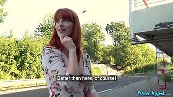 Redhead slut Alex Harper takes money for a sex with a stranger