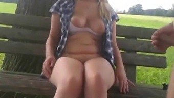 Beautiful blonde chick teaches how to make a blowjob