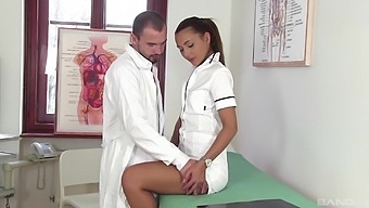 Doctor and nurse in crazy hard sex scenes while being recorded