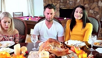 Teens giving pussies to stepbro for thanksgiving dinner
