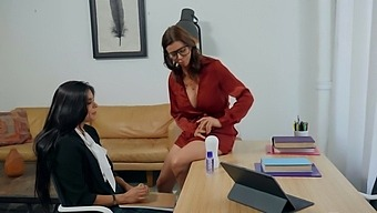 College counselor Alexis Fawx makes cute coed Katya Rodriguez feel better