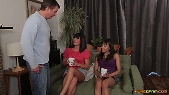 Clothed ladies Alyssa Divine and Stephanie Blows stroke and suck