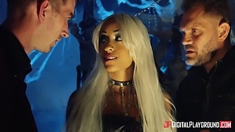 Halloween party is turned into threesome with wild pounding for Alyssa Divine
